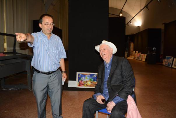 Giorgio Garbi - dario fo visita mostra in castello