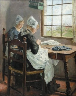 Sisters_in_the_sewing_room(Von Uhde)