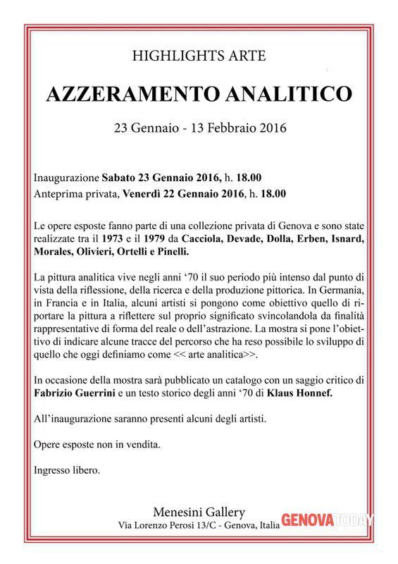azzeramento analitico - menesini gallery, genova