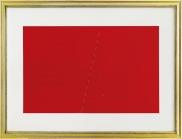 6 AGOSTINO BONALUMI Vimercate (Mi) 10/07/1935 - Milano 18/09/2013 Senza titolo carta estroflessa rossa applicata su cartoncino cm 55x75, esemplare 48/150, timbro della Seri Arte Bergamo in basso a sinistra, firma in basso a destra. senza riserva stima: 1.000/2.000 €