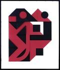 """19 ENRICO CASTELLANI Castelmassa (RO) 04/08/1930 Rosso - nero, 1999 multiplo su carta Fedrigoni gr. 300 accoppiata bicolore e fustellata cm 75x55, esemplare 65/150, firma ed esemplare in basso a sinistra, facente parte della cartella Undici Serigrafie, pubblicato sul catalogo """"Undici Serigrafie"""", Edizioni Galleria Fumagalli (Bergamo), 2000. senza riserva stima: 1.000/2.000 €"""