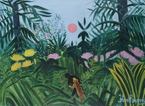 155 TITINA MASELLI Roma 1924 - 2005 Henri Rousseau, 1968 olio su tela cm 114x161x2, titolo in basso a destra, firma, anno e dedica dell'artista ad personam al retro, opera priva di cornice. base d'asta: 2.000 € stima: 4.000/5.000 €