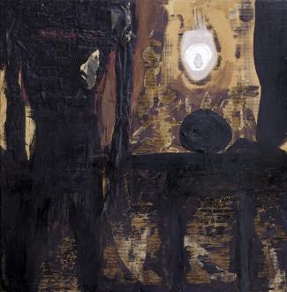 481 BRUNO CECCOBELLI Montecastello Vibio (PG) 02/09/1952 Luce nera, 1985 tecnica mista e collage su cartone ondulato applicato su tavola cm 201x200, firma, titolo e anno al retro, provenienza Levy Galery (Hamburg-Germania), dichiarazione d'autenticità e archivio dell'artista su foto, opera priva cornice. base d'asta: 4.000 € stima: 12.000/15.000 €