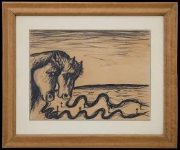 559 ENZO CUCCHI Morro D'alba (AN) 14/11/1949 Il respiro della storia, 1982 carboncino su carta 30x40 cm, firma, titolo e anno al retro, dichiarazione d'autenticità dell'artista su foto. base d'asta: 2.500 € stima: 5.000/6.000 €