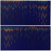 86 PAOLO MINOLI Cantù (CO) 10/07/1942 - 20/12/2004 Per il poeta, La bella serata estiva cade ora in quieto splendore sul sacro colto del cielo (Emily Bronte), 1998 dittico, acrilico su 2 tavole 30x60 cm cadauno (totale 60x60x3 cm), firma, titolo e anno sul retro di ognuno, opera priva di cornice. base d'asta: 3.000 € stima: 6.000/7.000 €