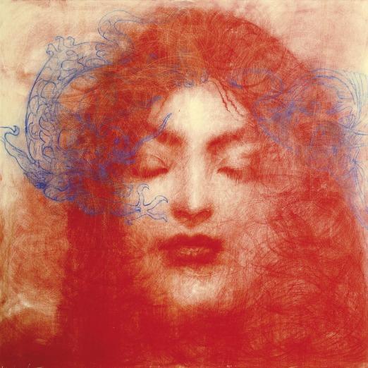 596 OMAR GALLIANI Montecchio Emilia (RE) 30/10/1954 Fiori Insetti Santi grafite e tecnica mista su legno 100x100x7 cm, firma e titolo al retro, dichiarazione d'autenticità dell'artista su foto, entro teca in plexiglass. base d'asta: 5.000 € stima: 12.000/14.000 €