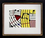 "302 ROY LICHTENSTEIN New York 1923 - New York 29/09/1997 Composition IV, 1995 serigrafia su carta Rives BFK 56,5x69,5 cm, esemplare 70/170, firma, anno, tiratura e timbro a secco del Pritner Brand X Edition New York in basso a destra. Bibliografia: -""The prints of Roy Lichtenstein. A catologue raisonnè 1948-1997"" a cura di Mary Lee Corlett, introduction by Ruth E.Fine, Hudson Hill Press, N.Y., in association with National Gallery of Art, Washington, 2002, al n° 293. base d'asta: 5.000 € stima: 9.000/10.000 €"