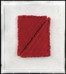 36 PINO PINELLI Catania 01/10/1938 Pittura R, 2006 tecnica mista su due elementi rossi 29x22 cm applicati su tavola realizzata dall'artista 45x40 cm, firma, titolo e anno al retro, dichiarazione d'autenticità dell'artista su foto, entro teca in plexiglass. base d'asta: 1.500 € stima: 3.000/4.000 €