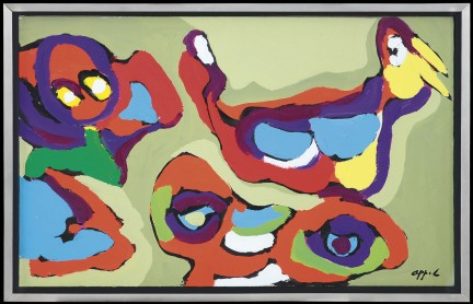 105 KAREL APPEL Amsterdam 25/04/1921 - Zurigo 03/05/2006 Senza titolo 1974 acrilico su carta intelata 49x77 cm, firma in basso a destra, etichetta della Galleria La Bussola (TO) al retro; certificato di garanzia e autenticità allegato con timbro a secco della Galleria La Bussola (TO) su foto base d'asta: 7.000 € stima: 12.000/14.000 €