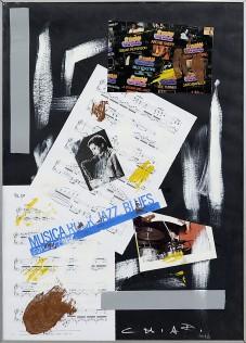 16a GIUSEPPE CHIARI [Firenze 26/09/1926 - Firenze 10/05/2007] Musica tecnica mista e collage su carta 70x50 cm, firma in basso a destra, dichiarazione d'autenticità dell'artista su foto. senza riserva stima: 1.000/2.000 €