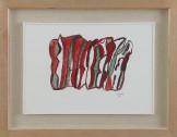 Asta 872---1 PIETRO CONSAGRA [Mazara del Vallo (TP) 04/10/1920 - 16/07/2005] Senza titolo, 1996 tempera su carta intelata 33,5x48 cm, firma e anno in basso a destra, etichetta dell'esposizione Art Cologne tenutasi dal 5 al 12 Novembre 2000 al retro, dichiarazione d'autenticità dell'artista su foto. senza riserva stima: 1.500/2.500 €