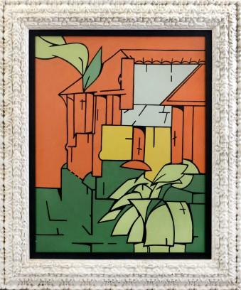 199 VALERIO ADAMI [Bologna 17/03/1935] Note alla Casa di Faulkner, 1966 olio su tela 100x81 cm, titolo, firma e anno al retro, dichiarazione d'autenticità dell'artista su foto. base d'asta: 35.000 € stima: 63.000/70.000 €