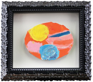 """43 NICOLA DE MARIA [Foglianise (BN) 06/12/1954] Salvezza cosmica, 2000 olio su tela applicata su tavola ovale 19,2x24,2x2 cm, firma, titolo e anno al retro, dichiarazione d'autenticità dell'artista su foto con lettera accompagnatoria indirizzata alla Galleria Astuni (BO) dalla Galleria Cardi (MI). Bibliografia: -""""Nicola De Maria, Testa dell'artista cosmico pittore e cantante"""", Rizziero Arte, Pescara, 19 luglio - 2 agosto 2003 sulla sovracoperta. -""""L'Espresso"""", settimanale di politica cultura economia, n° 33 anno XLIX, 13 agosto 2003, pagina 107. base d'asta: 8.000 € stima: 14.000/16.000 €"""
