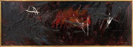 874-5 AFROYIM SOSHANA [Vienna 01/09/1927 - Vienna 09/12/2015] Head III, 1958 olio su tela 40x120 cm, firma in basso a destra, certificato d'autenticità del figlio Amos curatore della Soshana's Estate (Vienna) allegato. base d'asta: 1.000 € stima: 2.000/3.000 €