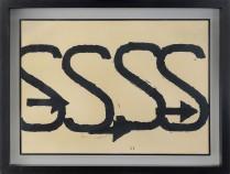 """54 JANNIS KOUNELLIS [Pireo (Grecia) 23/03/1936 - Roma 16/02/2017] Segnali, 1960 pittura su carta intelata 71x101 cm, firma e anno in basso a destra, dichiarazione d'autenticità dell'artista su foto. Bibliografia: -""""Energie materiali poveri concetti"""" a cura di Giuseppe Biasutti, tenutasi presso la Galleria Biasutti & Biasutti (TO) dal 12 novembre 2010 al 22 gennaio 2011, pagina 73 e pagina 40 (particolare). base d'asta: 60.000 € stima: 105.000/120.000 €"""