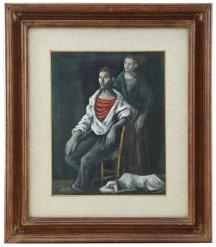 874-103 DOMENICO PURIFICATO [Fondi (LT) 14/03/1915 - Roma 06/11/1984] Figura olio su tela 50x40 cm, firma in alto a destra. base d'asta: 500 € stima: 1.500/2.000 €