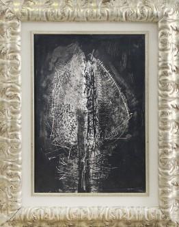 20 EMILIO SCANAVINO [Genova 28/02/1922 - Milano 29/11/1986] Senza titolo, 1956 tecnica mista su carta applicata su cartone 66x47 cm, firma e anno in basso a destra, dichiarazione d'autenticità dell'artista su foto. base d'asta: 7.000 € stima: 12.000/14.000 €