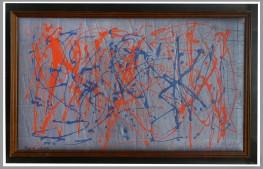 64 GIULIO TURCATO [Mantova 16/03/1912 - Roma 22/01/1995] Itinerari, inizio anni '70 olio su gommapiuma incollata su legno cm. 43x73, firma in basso a sinistra e al retro, archivio numero SP42317ME0499 a cura di Ettore Caruso su foto, entro teca in plexiglass. base d'asta: 12.000 € stima: 21.000/24.000 €