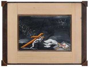 167 ENZO CUCCHI [Morro D'alba (AN) 14/11/1949] Offerta, 2003 olio su tela 20x30 cm, firma, titolo, anno e timbro della Blu Art Gallery, Sant'Omero (TE) al retro, dichiarazione d'autenticità dell'artista su foto. base d'asta: 10.000 € stima: 18.000/20.000 €