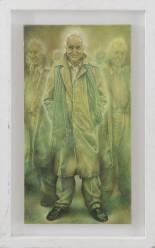 874-104 ANDREA MARTINELLI [Prato 12/03/1965] L'uomo che rideva, 2010 tecnica mista su carta intelata 57x30 cm, firma in basso al centro, titolo, firma e anno al retro. base d'asta: 500 € stima: 1.500/2.000 €
