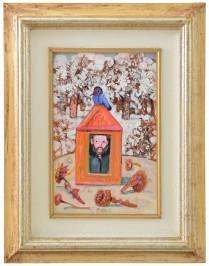 98 ANTONIO POSSENTI [Lucca 11/01/1933 - Lucca 28/07/2016] Inverno olio su cartone telato 30x20 cm, firma in basso al centro, firma e titolo al retro, dichiarazione di autenticità dell'artista su due foto. base d'asta: 500 € stima: 1.500/2.000 €