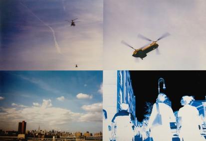"""109-STEFANO CAGOL [Trento 11/09/1969]Elicopters, 1999c-print su lamiera 80x120 cm, firma al retro, dichiarazione d'autenticità dell'artista su etichetta della Galleria ArtAntide (VR) su foto, dichiarazione di provenienza dello Studio d'Arte Raffaelli (TN) ed etichetta della Galleria ArtAntide (VR) su foto, opera priva di cornice.Provenienza:- Studio d'Arte Raffaelli, Trento.- Galleria ArtAntide, Verona.Esposizioni:- """"The Consequences of Vacua"""", Galleria C+N Carpentieri, Milano (21 settembre - 20 ottobre 2017).Bibliografia:- sito dell'artista """"Images by Stefano Cagol 1999""""- """"Stefano Cagol"""", Edizioni Skira, pagine 50-51- """"Avido d'Arte"""", Maurizio Calvi Collection, a cura di Michela Danzi, Edizioni ArtAntide.com, pagina 31.- """"Building, collection under construction"""", a cura di Michela danzi, Edizioni ArtAntide.com, 2016, pagina 72.base d'asta: 1.000 €stima: 2.000/3.000 €"""