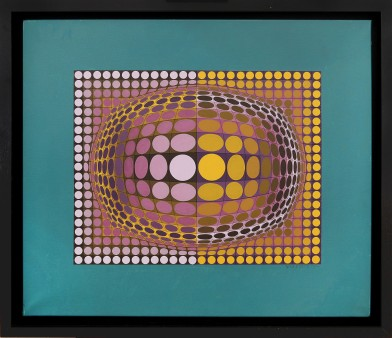 "78- VICTOR VASARELY [Pecs 1906 - Parigi 15/03/1997] O V A L, 1970/1988 acrilici su tela 72x85 cm, firma in basso a destra, titolo, firma, anno e numero d'archivio 1140 su cartiglio al retro. Bibliografia: -""The sharper perception"", Inaugural Show, Dynamic Art, Optical and Beyond, a cura di Giovanni Granzotto, Dario De Bastiani Editore, GR Gallery (New York), 14 Gennaio - 12 Marzo 2016, pagina 105. base d'asta: 35.000 € stima: 63.000/70.000 €"