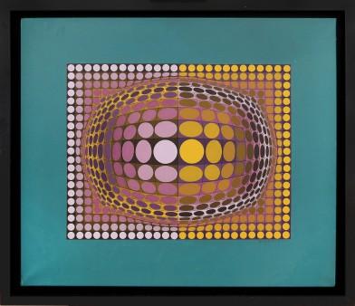 """78- VICTOR VASARELY [Pecs 1906 - Parigi 15/03/1997] O V A L, 1970/1988 acrilici su tela 72x85 cm, firma in basso a destra, titolo, firma, anno e numero d'archivio 1140 su cartiglio al retro. Bibliografia: -""""The sharper perception"""", Inaugural Show, Dynamic Art, Optical and Beyond, a cura di Giovanni Granzotto, Dario De Bastiani Editore, GR Gallery (New York), 14 Gennaio - 12 Marzo 2016, pagina 105. base d'asta: 35.000 € stima: 63.000/70.000 €"""