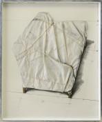 """200- CHRISTO [Gabrovo (Bulgaria) 13/06/1935 - New York (USA) 31/05/2020] Wrapped couch project, 1973 tecnica mista e collage su cartone 76x61 cm, titolo in alto a sinistra, firma e anno in alto a destra, dichiarazione d'autenticità dell'artista su foto. Bibliografia: - """"Collages e Disegni"""", edito in occasione delle mostre tenutesi presso la Hatton Gallery (Newcastle) e la Annely Juda Fine Art (London) nel 1974. base d'asta: a richiesta stima: a richiesta"""