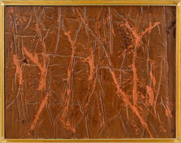 275-GIULIO TURCATO [Mantova 16/03/1912 - Roma 22/01/1995]Superficie lunare, inizio anni '70acrilico su gomma piuma applicata su tela 70,5x90 cm, firma e dichiarazione d'autenticità dell'artista al retro, opera registrata presso l'Archivio Giulio Turcato a cura di Ettore Caruso come da dichiarazione su foto.base d'asta: 28.000 €stima: 50.000/56.000 €