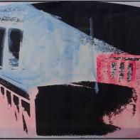 81-MARIO SCHIFANO [Homs (Libia) 1934 - Roma 26/01/1998]Senza titolo, prima metà anni '70smalto su tela emulsionata 78x109 cm (con copertura in plexiglass colorato 80,5x111,5 cm), firma in basso al centro, opera registrata in data 12 Maggio 2016 presso l'Archivio Mario Schifano (Monica Schifano) come da dichiarazione su certificato allegato con documentazione fotografica.senza riservastima: 12.000/14.000 €