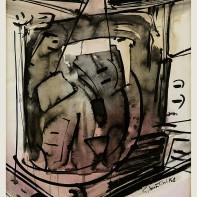 18-GIANNI BERTINI [Pisa 31/07/1922 - Caen (Normandia) 08/07/2010]Senza titolo, 1958tecnica mista su carta 68x52 cm, firma e anno in basso a destra, anno al retro, opera registrata presso l'Archivio dell'Associazione Gianni Bertini (MI) come da attestato d'autenticità del figlio Thierry su foto.base d'asta: 1.000 €stima: 2.000/3.000 €