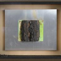 9- BERNARD AUBERTIN [Fontenay aux Roses 1934 - Reutlingen 31/08/2015] Livre brulè, 1974 libro bruciato su lastra di alluminio 40x50 cm, firma e anno su etichetta della Galleria Centro (BS), timbro e firma dell'Archivio Opere Bernard Aubertin al retro, dichiarazione d'autenticità dell'artista su foto e certificato d'Archivio di Rosenberg Galleria d'Arte (MI) allegato. base d'asta: 1.000 € stima: 2.000/3.000 €